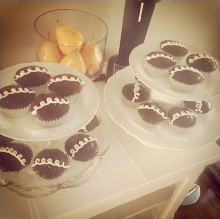 Homemade cream-filled chocolate cupcakes