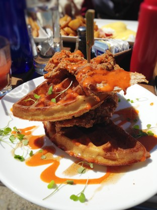 Chicken and waffles with sriracha-maple syrup at the Shady Lady