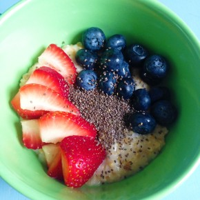 Breakfast of champs: oatmeal, strawberries, blueberries, and chia seeds